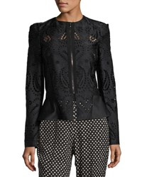 Etro Zip Front Eyelet Jacket Black Pattern