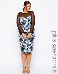 Lipstick Boutique Plus Mono Floral Print Pencil Skirt