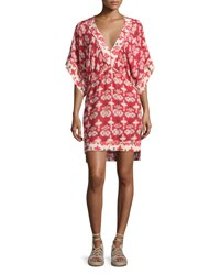 Vix Swimwear Michelle Kali Ikat Print Tunic Coverup Red White Red Pattern