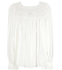 Saint Laurent Crochet Lace Trimmed Blouse White