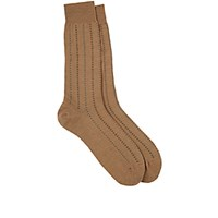 Barneys New York Men's Pembridge Mini Cross Pattern Mid Calf Socks Tan