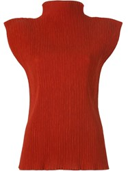 Issey Miyake Vintage Sleeveless Pleated Top Red