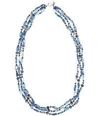 Viyella Navy Three Row Shell Facet Necklace