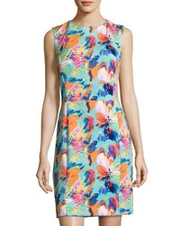 Tahari By Arthur S. Levine Tropical Scuba Sheath Dress Multi Pattern