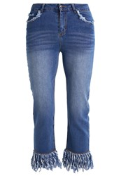 Neon Rose Straight Leg Jeans Blue Denim