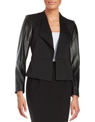 Calvin Klein Faux Leather Accented Open Front Jacket Black