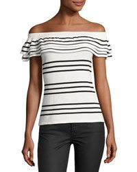 Neiman Marcus Ruffled Off The Shoulder Sweater White Black
