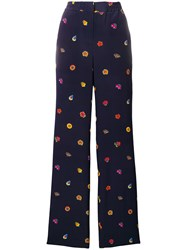 Paul Smith Ps By Printed Wide Leg Trousers Blue