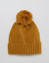 Asos Bobble Beanie In Mustard Mustard Yellow