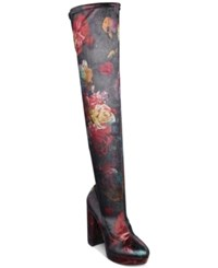 Madden Girl Groupie Over The Knee Boots Women's Shoes Floral Velvet