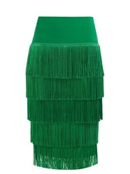 Norma Kamali Tiered Fringe Stretch Jersey Pencil Skirt Green