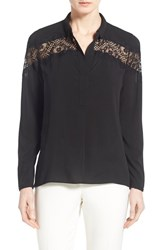 Women's T Tahari 'Aletta' Lace Detail Long Sleeve Blouse