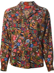 Kenzo Vintage Printed Blouse And Skirt Suit Multicolour