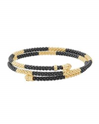 Lagos Black Caviar And 18K Gold Long Striped Coil Bracelet