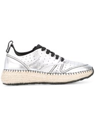 Tod's Braided Sole Sneakers Women Leather Polyester Rubber 40 Grey