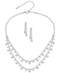 Say Yes To The Prom Silver Tone 2 Pc. Rhinestone Necklace And Earrings Set A Macy's Exclusive Style