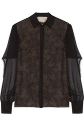 Jason Wu Cape Back Silk Chiffon And Lace Blouse Black