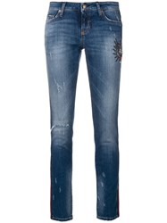 Cambio Embroidered And Distressed Cropped Skinny Jeans Cotton Polyester Spandex Elastane Blue
