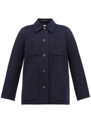 Acne Studios Okera Single Breasted Double Faced Wool Coat Navy