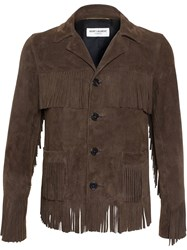 Saint Laurent Curtis Fringed Suede Jacket Brown