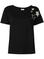 Saint Laurent Star Embellished T Shirt Black