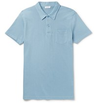 Sunspel Riviera Slim Fit Cotton Pique Polo Shirt Blue