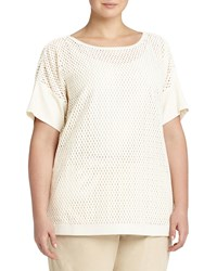 Lafayette 148 New York Plus Camira Open Weave Top Ivory