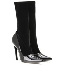 Balenciaga Velvet And Patent Leather Boots Black
