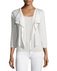Neiman Marcus Cashmere Collection Chain Trim Short Cardigan White