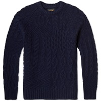 Beams Plus Crazy Aran Crew Knit Navy