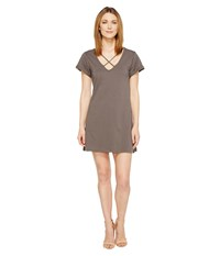 Culture Phit Keelie Short Sleeve Dress With Strap Detail Charcoal Women's Dress Gray