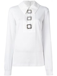 Dolce And Gabbana Crystal Embellished Buckle Top White