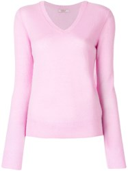 Liska Classic V Neck Jumper Pink And Purple