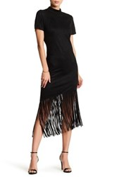 Alexia Admor Faux Suede Fringe Dress Black