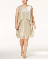Si Fashions Sl Plus Size Metallic Popover Dress Light Gold