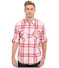 True Grit Beachhouse Plaid Combed Cotton And Vintage Wash Long Sleeve Shirt Washed Red Men's Long Sleeve Button Up