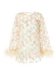 Alice Mccall Floral Print Feather Trim Dress 60