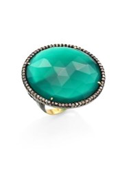 Nina Gilin Diamond Green Onyx And 18K Yellow Gold Cocktail Ring