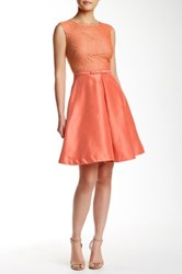 Taylor Sleeveless Lace Bodice Party Dress Orange