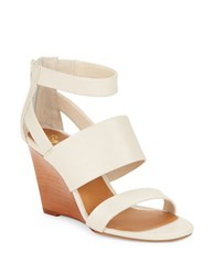 Seychelles Suave Leather Stacked Wedge Sandals Off White
