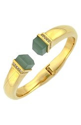 Women's Louise Et Cie Stone Tip Hinged Cuff Gold Seagreen Crystal