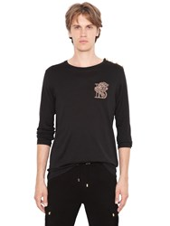 Balmain Embroidered Lion Cotton T Shirt