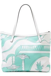 Emilio Pucci Woman Leather Trimmed Printed Twill Tote White