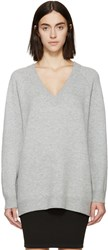 Alexander Wang Grey Wool And Cashmere V Neck Sweater