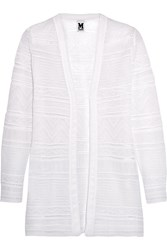 M Missoni Crochet Knit Cotton Blend Cardigan White