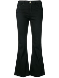 Don't Cry Cropped Flared Jeans Black