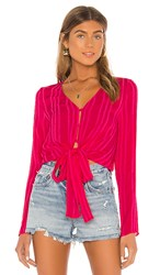 Line And Dot Briana Tie Detail Top In Pink. Fuchsia