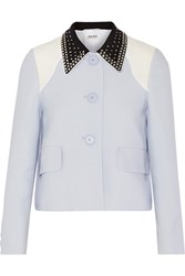 Miu Miu Crystal Embellished Cady Jacket Sky Blue