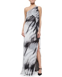 Halston One Shoulder Tie Dye Long Caftan Dress