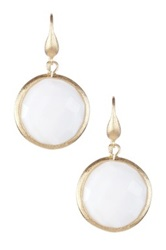 Rivka Friedman 18K Gold Clad Bold Round Faceted White Mother Of Pearl Dangle Earrings